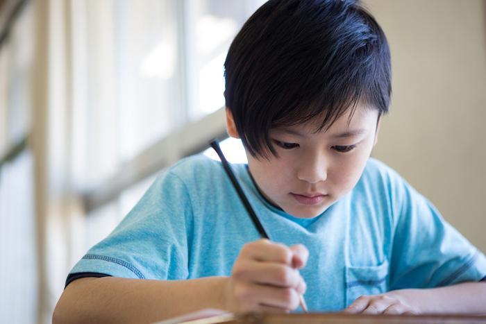 勉強する小学生男子